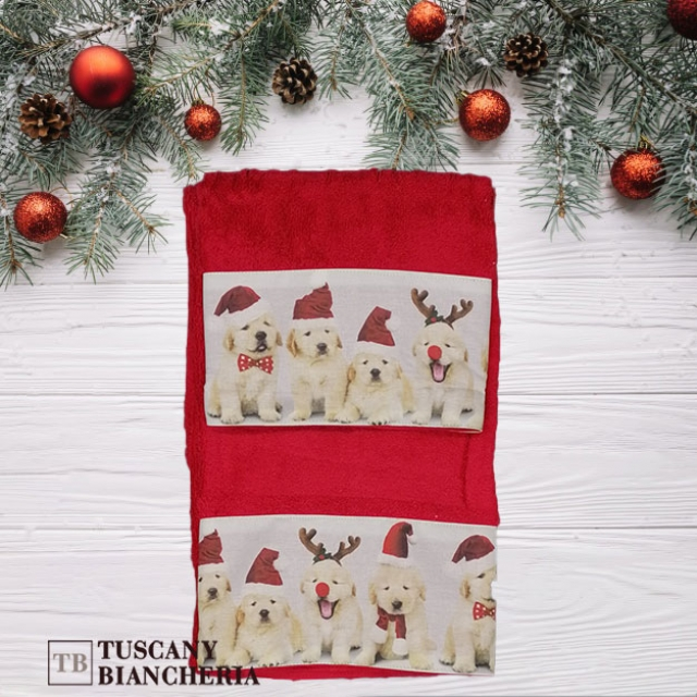 asciugamano cani rossi