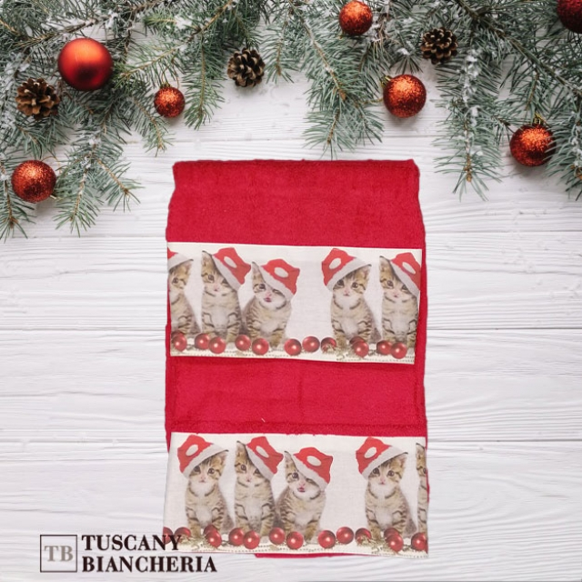 asciugamano gattini rossi