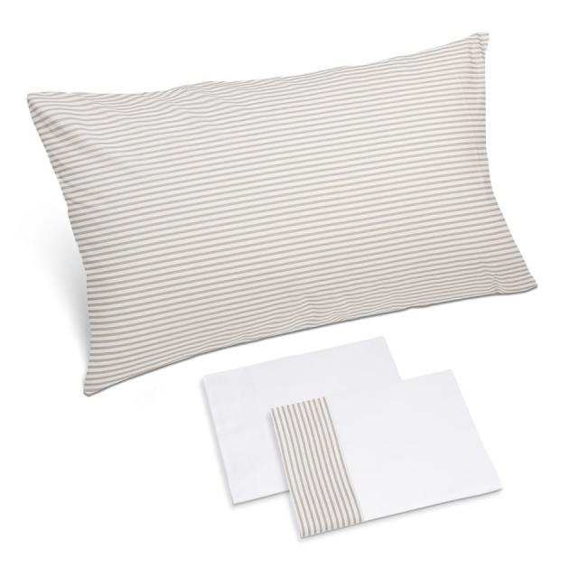 completo lenzuola riga sabbia bianco