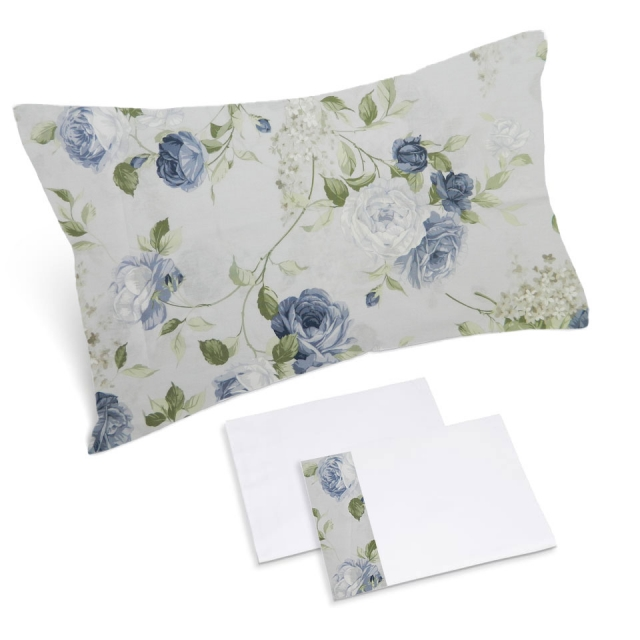 completo lenzuola bianco rose blu