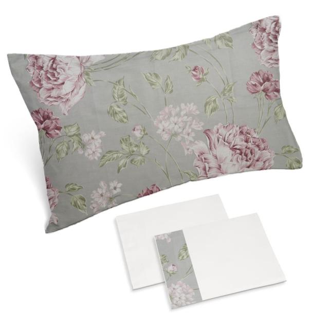 completo lenzuola bianco naturale rose grosse