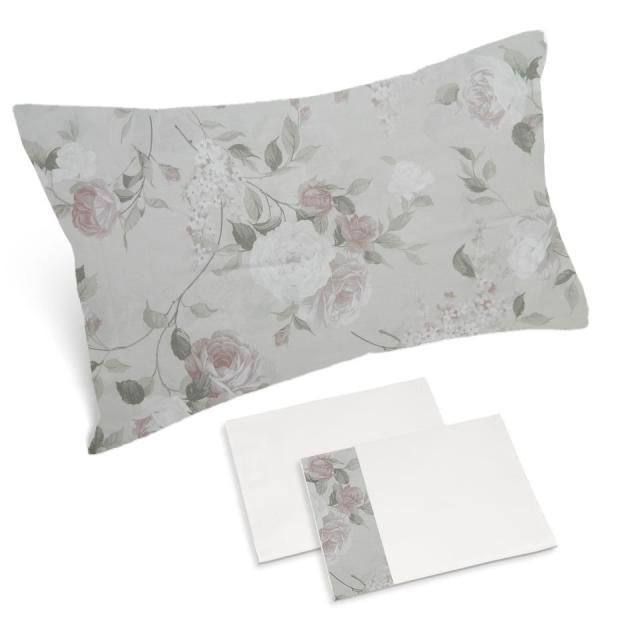 completo lenzuola bianco naturale rose chiare